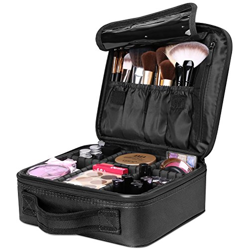 - Travel Makeup Box, Luxspire Cosmetic Makeup Case Professional Makeup Train Case Portable Cosmetic Case Makeup Bag Organizer with Adjustable Dividers for Makeup Brushes - Black