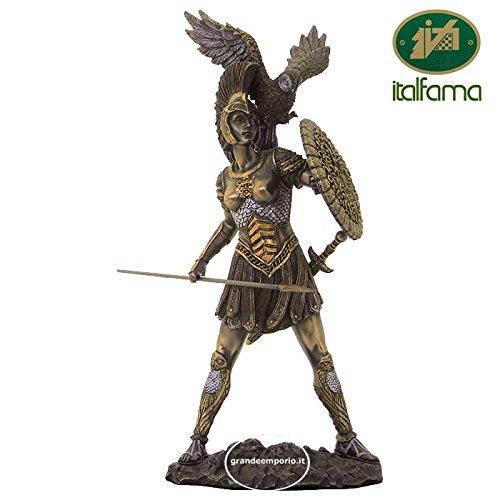 Italfama Statua di Athena, dea Greca della Guerra, in Resina bronzata rifinita a Mano cm.31. Elegante Prodotto Firmato Firenze.