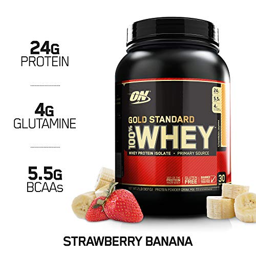 Optimum Nutrition Gold Standard 100% Whey Protein Powder, Strawberry Banana, 2 Pound