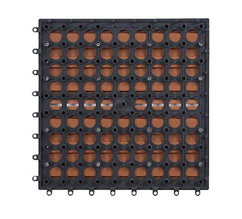 GOLDEN MOON Deck Tiles Interlocking Wood-Plastic Composites Patio Pavers 1x1FT 10 Pack Brown by GOLDEN MOON (Image #7)