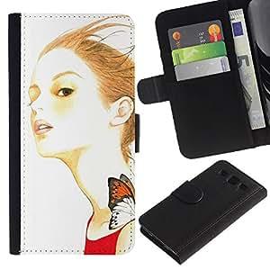 Ihec-Tech / Flip PU Cuero Cover Case para Samsung Galaxy S3 III I9300 - Artsy Girl Butterfly