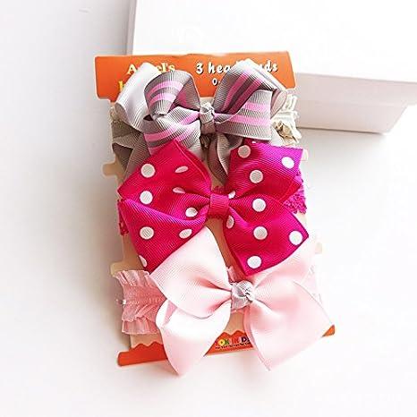Vellette 3 pezzi di Fiore Carino fascia dei capelli del bambino elastico pizzo fascia