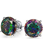 .50 Ct Round Black Mystic Rainbow Cubic Zirconia Solitaire CZ Stud Earrings For Women 925 Sterling Silver Screw Back 5MM