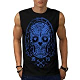 Santa Muerte Skull Diamond Life Men NEW Black S-2XL Sleeveless T-shirt | Wellcoda