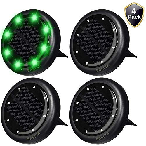 Capacity Green Light - BAKIYA Green 8 LED Disk Waterproof Solar Ground Pathway Deck Lights Automatic (4, Green)