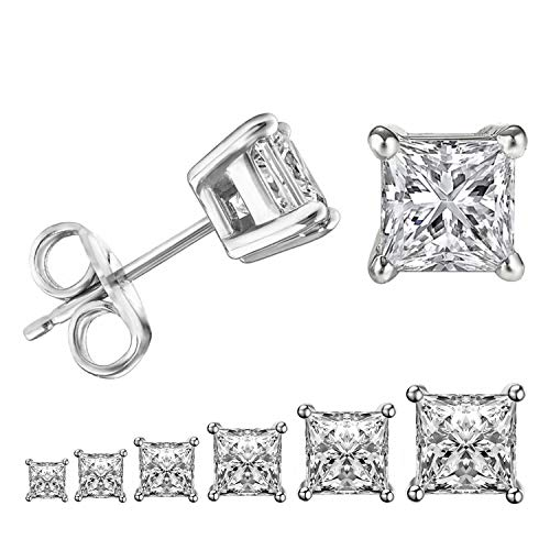 LIEBLICH Womens Princess Cut Cubic Zirconia Stainless Steel Earrings Studs Plated White Gold 3mm-8mm 6 Pairs