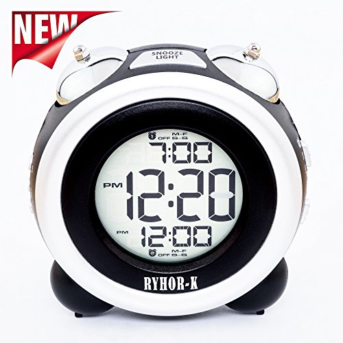 Alarm Clock for Home - Bedside Digital Clock for Kids - Loud Dual Snooze Alarm Clock Portable - Easy to Set Time Date LCD Display Travel Battery Alarm Clock Black - Electronic Desk Clock for Bedroom