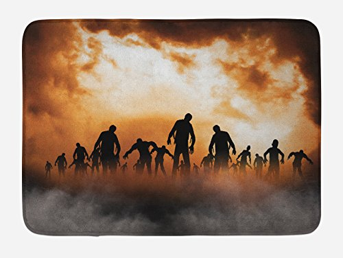 Ambesonne Halloween Bath Mat, Zombies Dead Men Walking Body in The Doom Mist at Night Sky Haunted Theme Print, Plush Bathroom Decor Mat with Non Slip Backing, 29.5 W X 17.5 W Inches, Orange Black