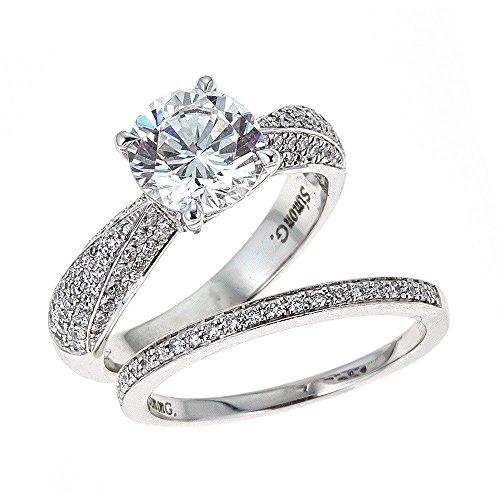 (Simon G. 18K White Gold Engagement & Wedding Ring Set)