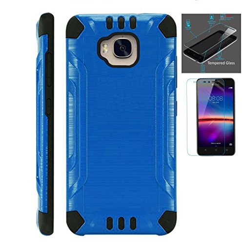 [WORLD ACC For Huawei Ascend XT Case + Tempered Glass Screen Protector / Slim Dual Layer Brushed Texture Armor Hybrid TPU Combat Phone Cover (Blue/Black)