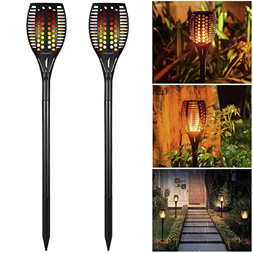 Solar Christmas Decoration Lights Outdoor Waterproof, Solar Torch Lights 96 LED Dancing Flame Lighting Flickering Tiki Torch for Garden Path Landscape Walkway Dusk to Dawn Automa On/Off, 2 Pack