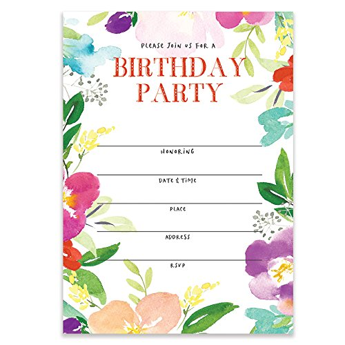 Colorful Floral Birthday Party Invitations with Envelopes (Pack of 25) Large 5x7 Fill In Blank Sweet 16 21st First Bday Surprise Parties Girl Child Teen Adult 30th Excellent Value Invites VI0066B