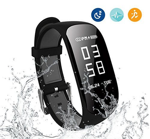 Kortusa Fitness Tracker Waterproof Wireless Activity Trackers Heart Rate Monitor, Sleep Monitor, Pedometer Calorie Counter Bluetooth 4.0 Android & IOS Smart Fitness Watch Kids Men Women