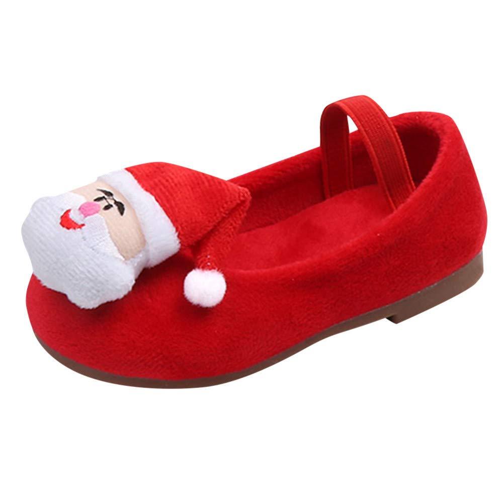 Robemon✬Autumn Hiver Ajouter Velours Suède Tressées Semelle Molle Père Noël Mignon Princesse Casual Bambin Chaussures Premiers Pas Bébé Fille Slip-on Shoes 12Mois-6Ans