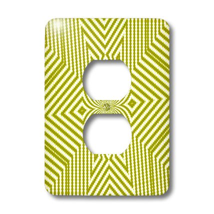 3dRose lsp_18473_6 Textile Pattern Lime Green And White Large Star 2 Plug Outlet Cover