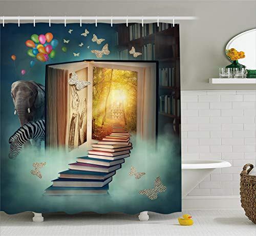 Ambesonne Fantasy House Decor Shower Curtain Set, Upstairs to The Magic Book Land Forest with Balloon Zebra Elephant Butterflies, Bathroom Accessories, 75 Inches Long, Teal Yellow