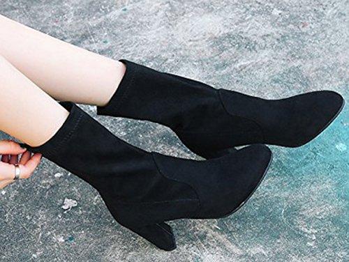 Aisun Femme Talons Hauts Tige Bottes Mode Noir Moyenne qqfwrxFUd