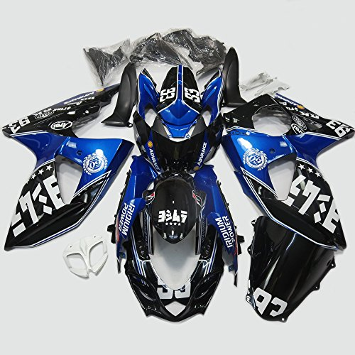 One Industries Suzuki Graphics (ABS Injection Molding - Blue and Black Painted with Graphic Fairing Kit for 2009 2010 2011 2012 2013 SUZUKI GSX-R 1000)