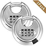 4 Digit Combination Disc Padlock with Hardened Steel Shackle Silver Lock for Sheds, Storage Unit, Gym and Fence (2 Pack)