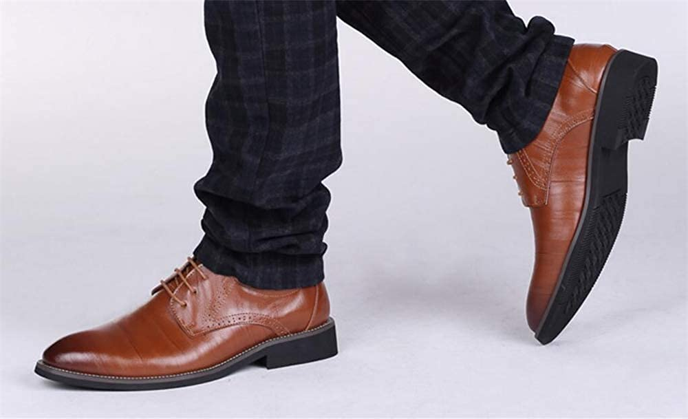edv0d2v266 Mens Business Leather Shoes Pointed Toe Lacing-up Dress Wedding Formal Shoes
