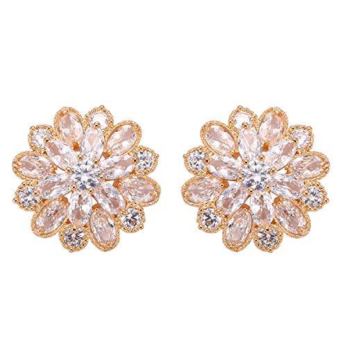 Stylebar CZ Earrings Stud Bridal Full Cubic Zirconia Flower Floral Pierced Ball Earring for Women Girls Wedding Brides and Bridesmaids Clear - Wedding Floral Earrings