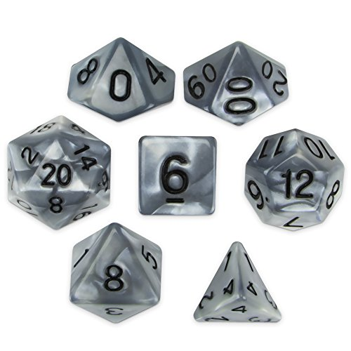Wiz Dice Quicksilver Set of 7 Polyhedral Dice, Pearlescent Mercury Silver RPG Dice with Clear Display Box