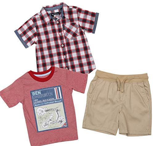 (Ben Sherman Boys 3 Piece Short Sleeve Shirt, T-Shirt, and Twill Short Set (Khaki/Plaid/Red, 7)')