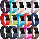 Wepro Bands Compatible with Fitbit Charge 2, 15 Colors in 1 Pack