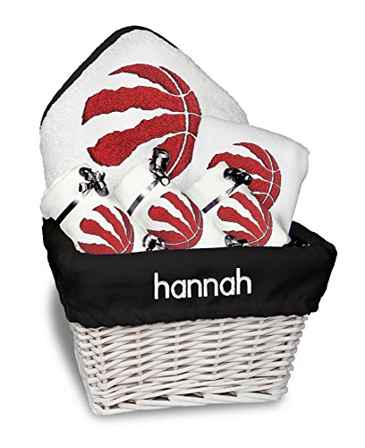 Designs by Chad and Jake Baby Personalized Toronto Raptors Medium Gift Basket One Size White