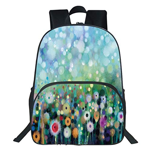 Oobon Kids Toddler School Waterproof 3D Cartoon Backpack, Dandelion Seeds in Air Splashes Pollination Time Mother Earth Print, Fits 14 Inch Laptop