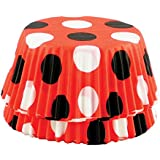 Fox Run 6900 Polka Dot Bake Cups, Standard, 50 Cups, Red with Black