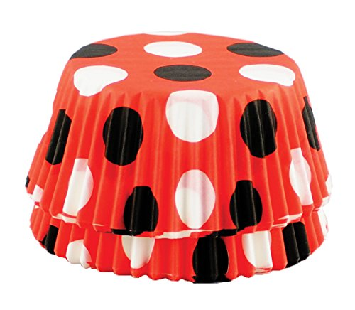 Fox Run 6900 Polka Dot Disposable Bake Cups, 3 x 3 x 1.25 inches, Red with Black]()