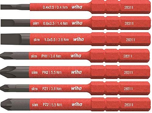 Wiha Bit slimBit electric Phillips 2831-11 PH2 x 75 mm f/ür tiefliegende Schrauben Allrounder f/ür Elektriker