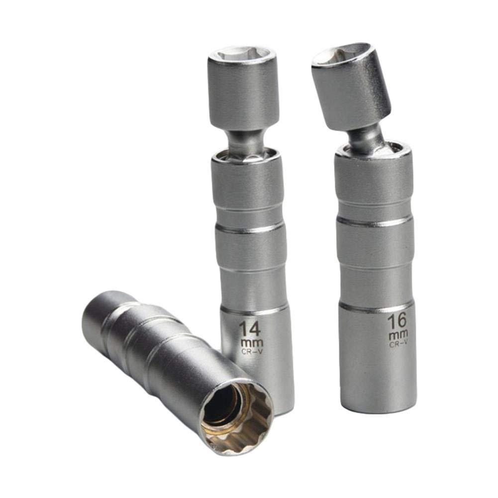 16mm Universal Joint Spark Plug Socket Z/ündkerzenschl/üssel Removal Tool Flexible Createjia 14