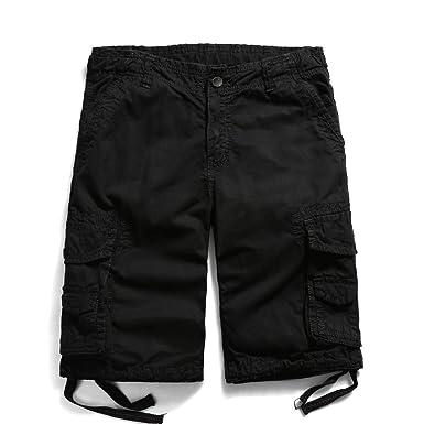 0711376209 OCHENTA Men's Cotton Casual Multi Pockets Cargo Shorts #3231 Black 29