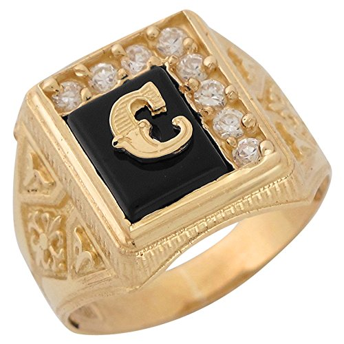 14k Yellow Gold Black Onyx White CZ Accented Mens Classic Letter C Initial Ring -
