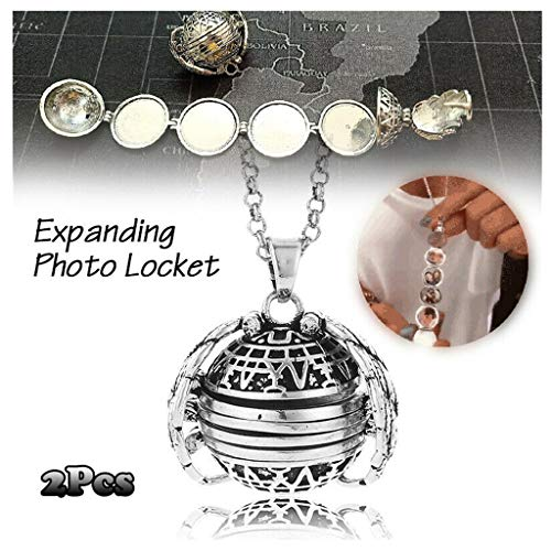 (Wenini 2Pcs Photo Locket Necklaces for Women Expanding 4 Photo Locket Necklace Silver Ball Angel Wing Pendant Memorial Gifts for Women Girls (2PCS Silver))
