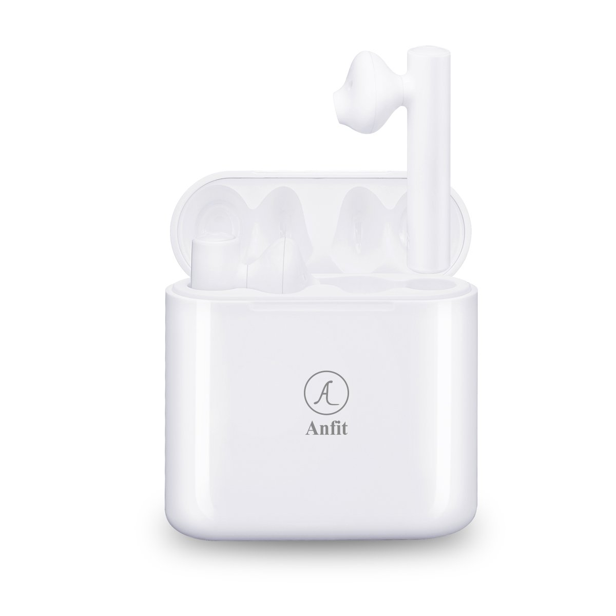 Anfit TWS Wireless Bluetooth V4.2 Earbuds, Double Earpieces, Twins Earphones With Charging Box, Noise Cancelling, Sweatproof, Stereo headset for iphone X/8/7/6s/6 Plus ipad Samsung Galaxy S8 etc