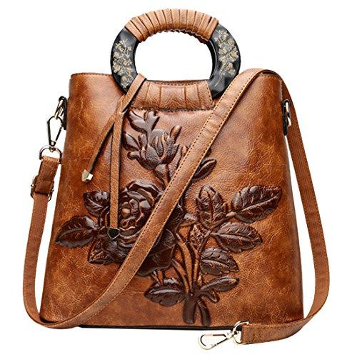 con Borsa cerniera a BAOFASHION per 3D di cinese peonia a borsa tracolla in stile mano retrò marrone wItfqxdq