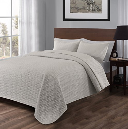 Madison King Cal King Size Bed 3pc Quilted Bedspread Light