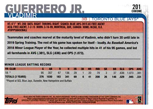 2019 Topps Chrome #201 Vladimir Guerrero Jr Toronto Blue Jays Rookie Baseball Card