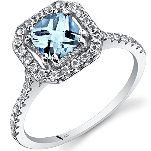 14K White Gold Aquamarine Cushion Cut Halo Ring 0.75 Carats Size 7