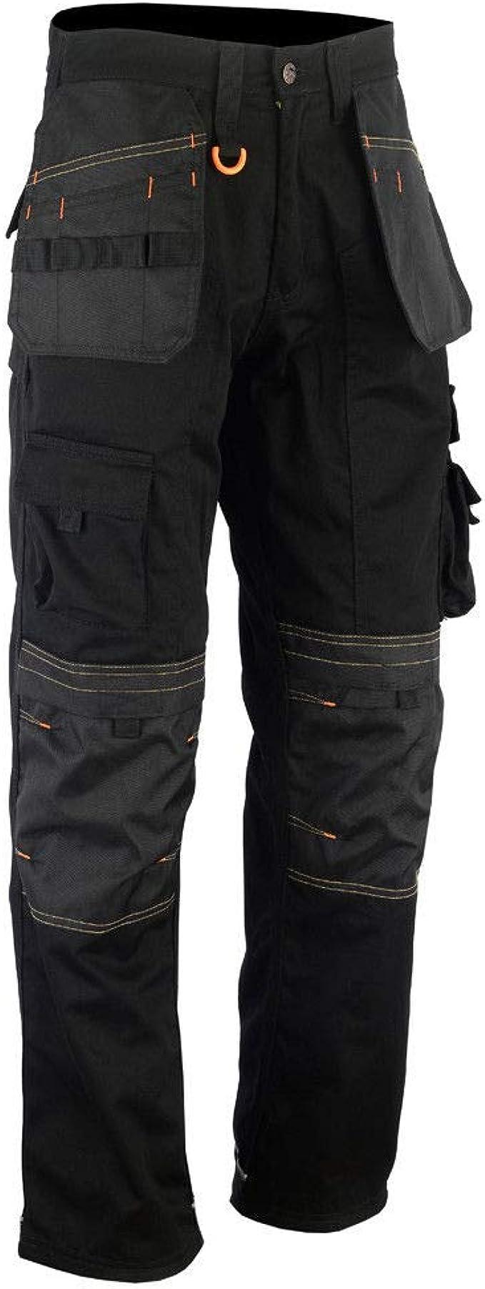 Herren Arbeitshose Schwarz Schwerlast-Multi-Taschen /& Kniepolstertaschen Wie Dewalt