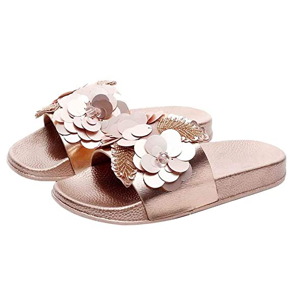 Zapatos de Ducha casa Pantuflas hogar Lentejuelas Flor Interior Sandalia para Mujer Antideslizante de Secado rápido, Mejor Regalo San Valentín día Negro: ...