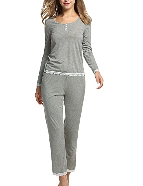 locry Juego de Camisón Juego de pijama Mujer Algodón pijamas ropa de dormir (S,