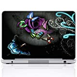 Meffort Inc 17 17.3 Inch Laptop Notebook Skin Sticker Cover Art Decal (Included 2 Wrist pad) - Gray Butterfly Design