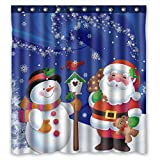 Snowman Shower Curtain Unique Custom Merry Christmas Santa Claus and Snowman Waterproof Fabric Polyester Shower Curtain 66