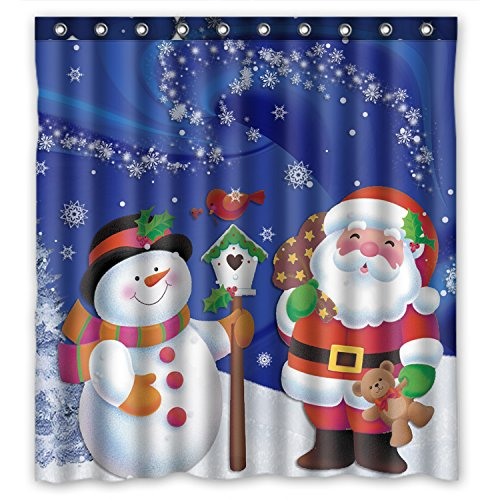Fabric Christmas Curtain Shower - Unique Custom Merry Christmas Santa Claus and Snowman Waterproof Fabric Polyester Shower Curtain 66