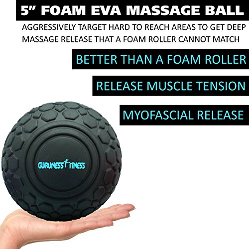 Massage Ball Set for Deep Tissue Recovery, Trigger Point Therapy, Myofascial Release, Muscle Knots, Mobility MOD, Plantar Fasciitis- 5'' Foam Roller Ball, Peanut Double Ball, Spiky Balls, Lacrosse Ball by GURUNESS FITNESS (Image #2)