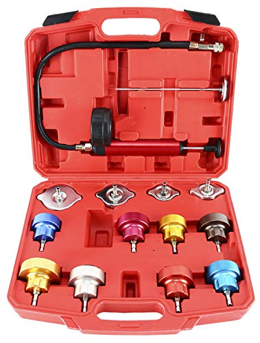 8MILELAKE 14pc Radiator Pump Pressure Leak Tester Kit Vacuum Pressure Cooling System Tester ()